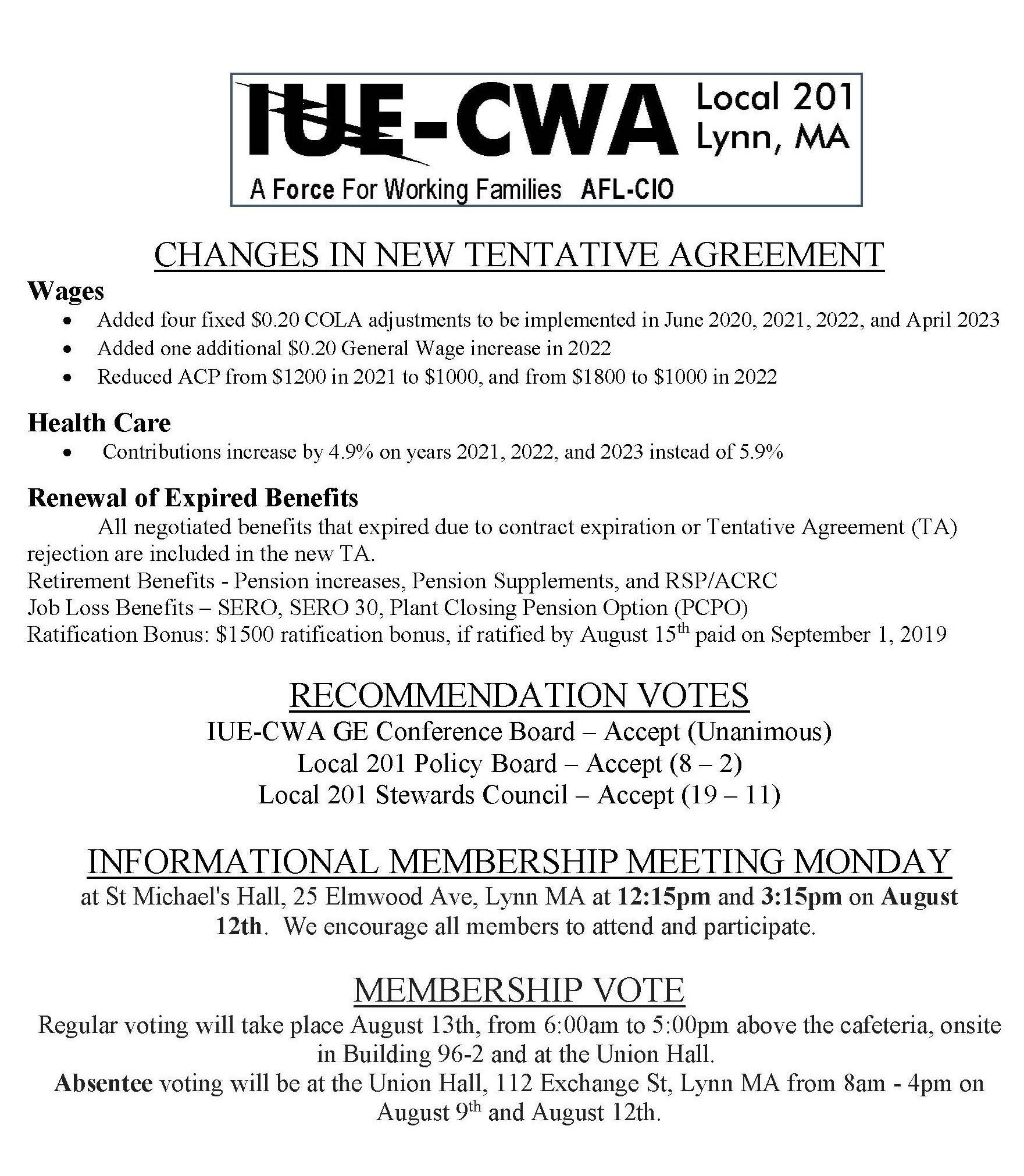 Recommendation Vote Results, Info, and TA Changes Flyer